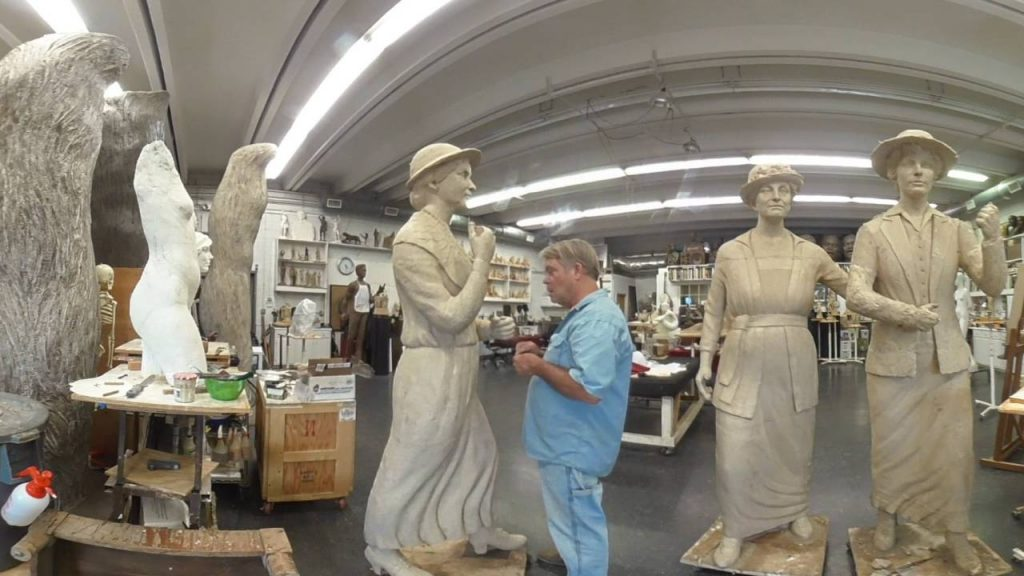 Alan Laquire works on his Women's Suffrage sculpture (360°)
