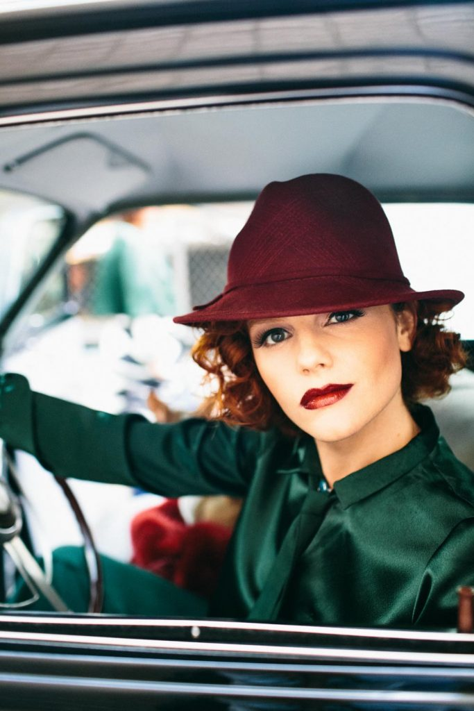 Vintage car provided by Jesse Lee Jones; green pantsuit provided by Thomy Owens